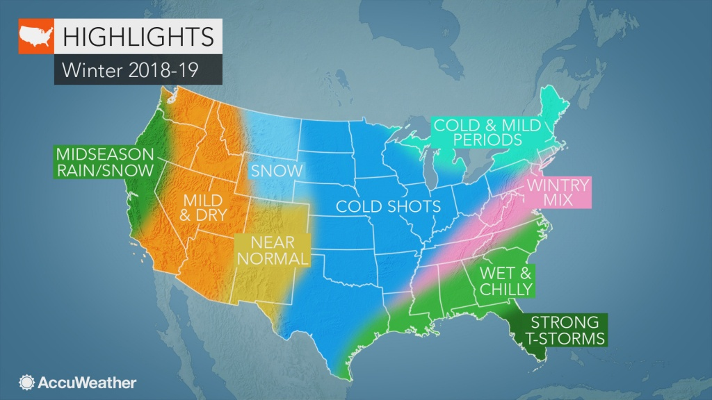 Accuweather's Us Winter Forecast For 2018-2019 Season - Weather Heat Map California