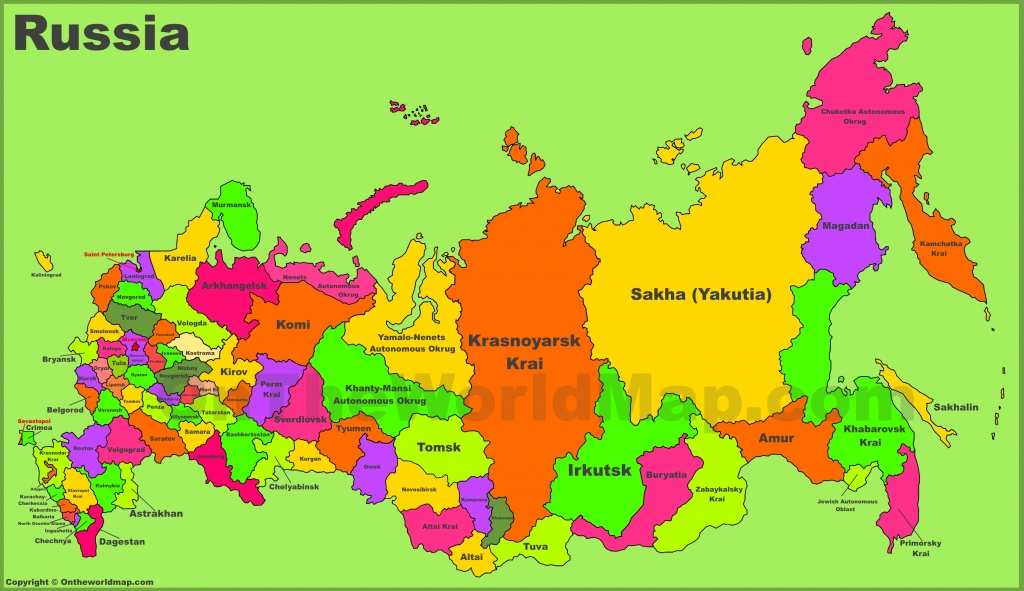 Administrative Divisions Map Of Russia - Printable Map Of Russia