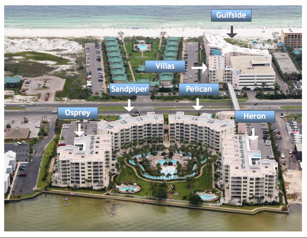 Aerial Map Of Destin West Beach And Bay Resort | Destin West Vacations - Map Of Hotels In Destin Florida
