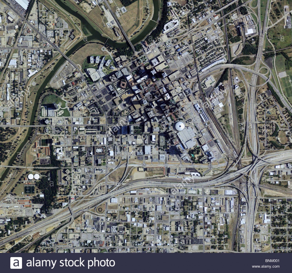 Aerial Map View Above Downtown Fort Worth Texas Stock Photo - Aerial Map Of Texas
