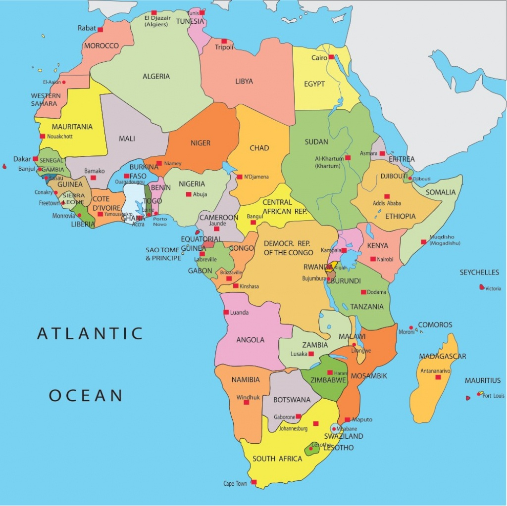Africa Map Capitals Maps With Road Africa Map With Capitals 17 - Printable Map Of Africa With Countries And Capitals