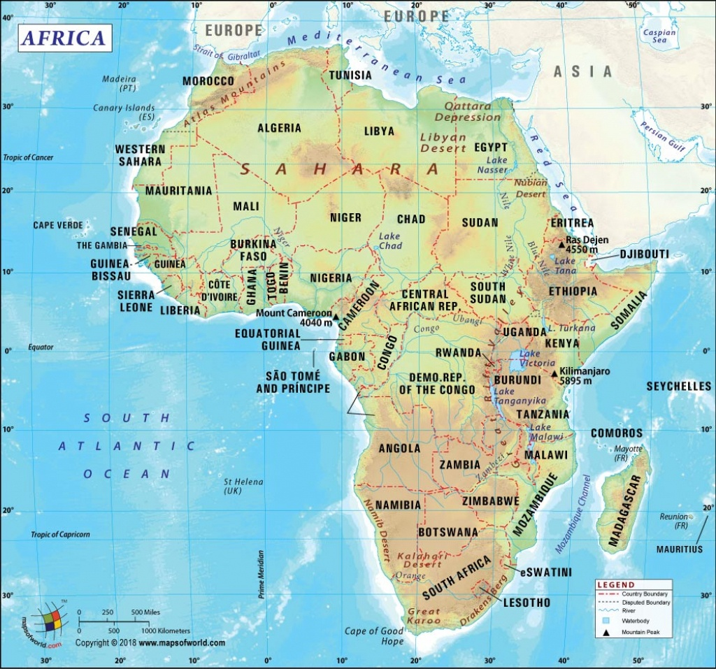 Africa Map, Map Of Africa, History And Popular Attraction In Africa - Printable Map Of Africa