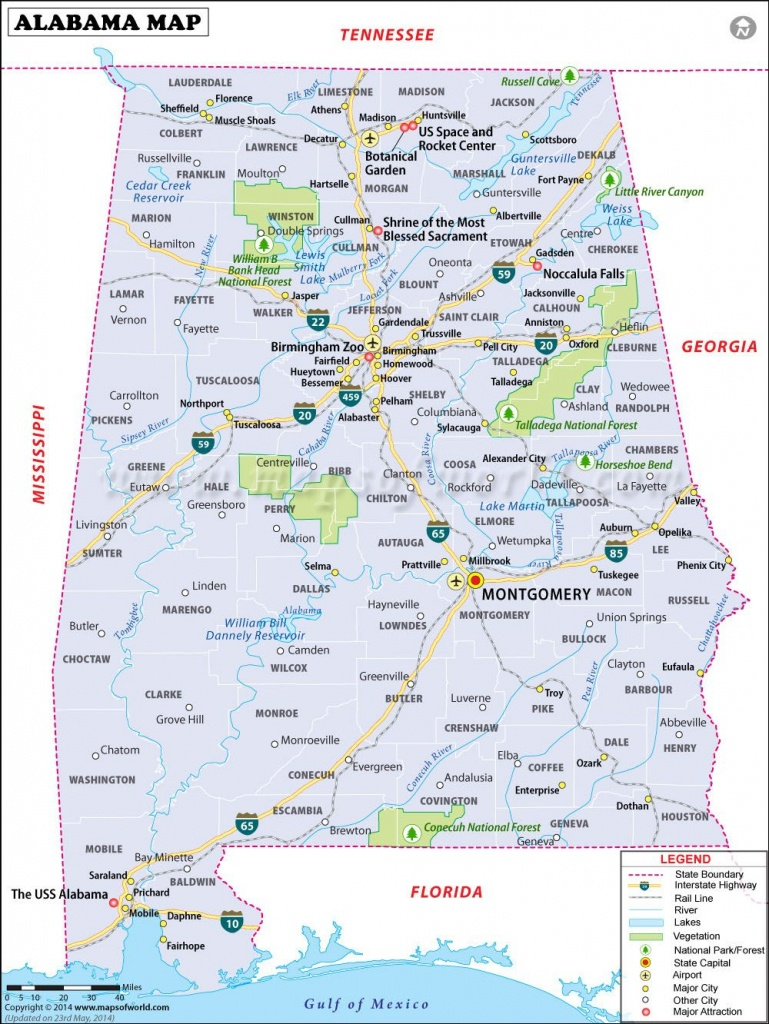 Alabama Map For Free Download. Printable Map Of Alabama, Known As - Alabama State Map Printable