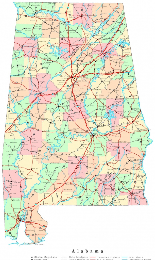 Alabama Printable Map - Printable Alabama Road Map