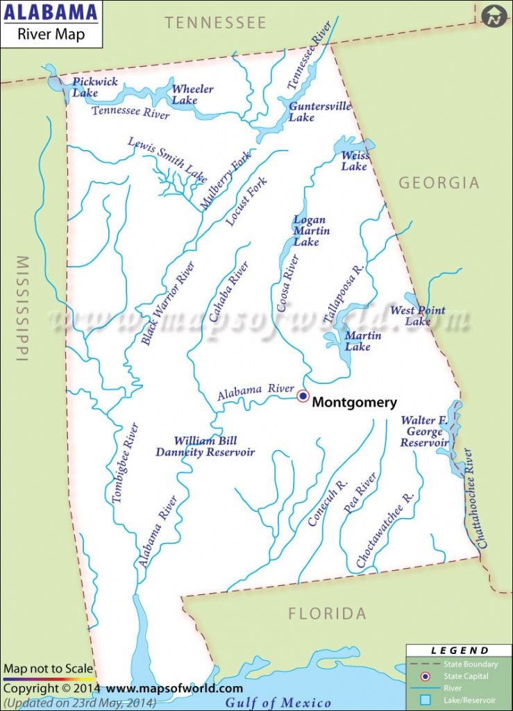 Alabama Rivers Map | Rivers In Alabama - Us Map Of Alabama And Florida