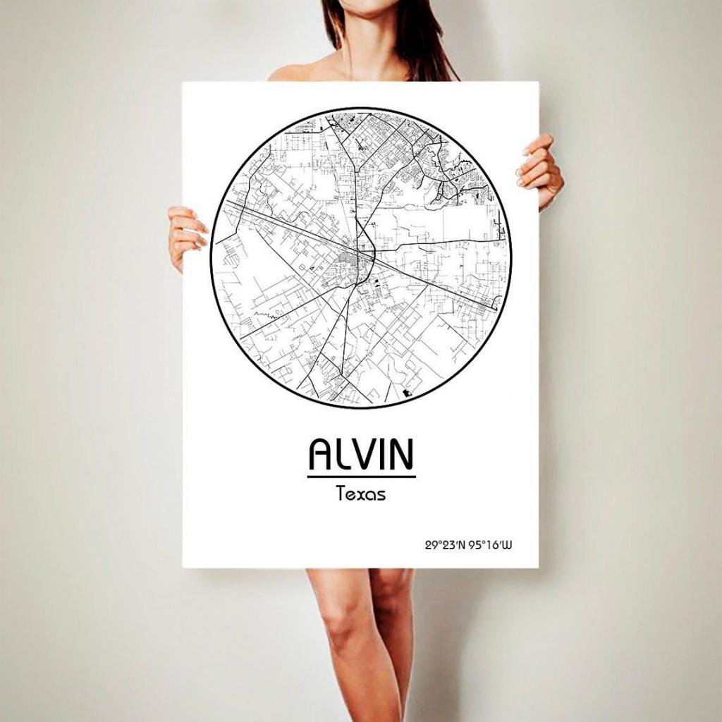 Alvin Texas City Map Alvin Texas Art Print Alvin Texas Poster Alvin - Alvin Texas Map