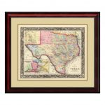 "Amanti Art 26 In. H X 30 In. W ""county Map Of Texas, 1860""samuel   Texas Map Framed Art"