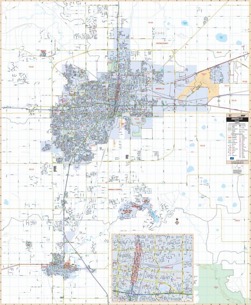 Amarillo, Tx Wall Map - Texas Wall Map