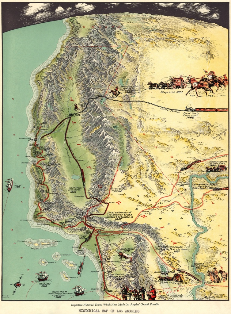 Amazing Oblique #map Of Southern #california,gerald A Eddy From - Historical Maps Of Southern California
