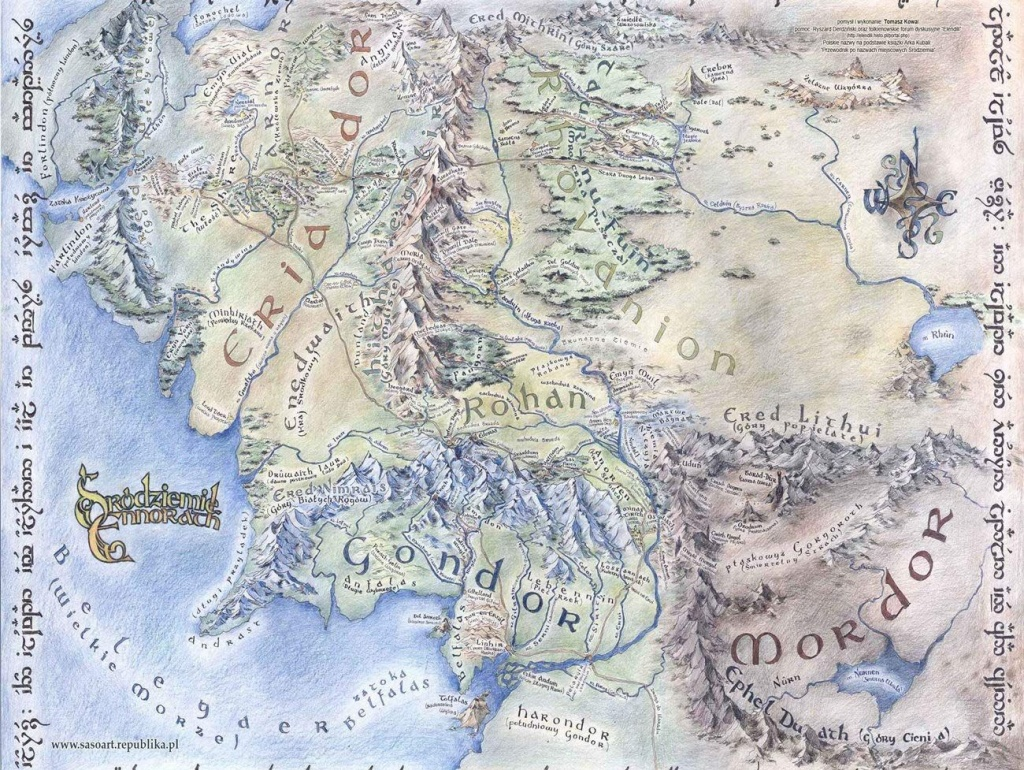 Amazon: Map Of Middle Earth The Lord Of The Rings Vintage Style - Printable Map Of Middle Earth