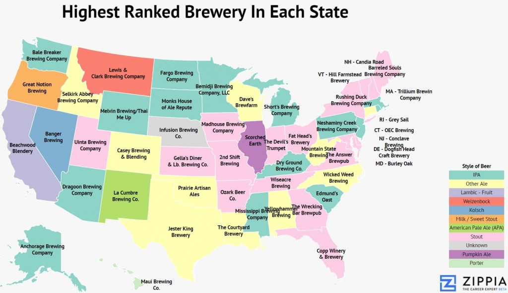 America The Brew-Tiful: Mapping The Best Brewery In Each State - Zippia - Florida Brewery Map