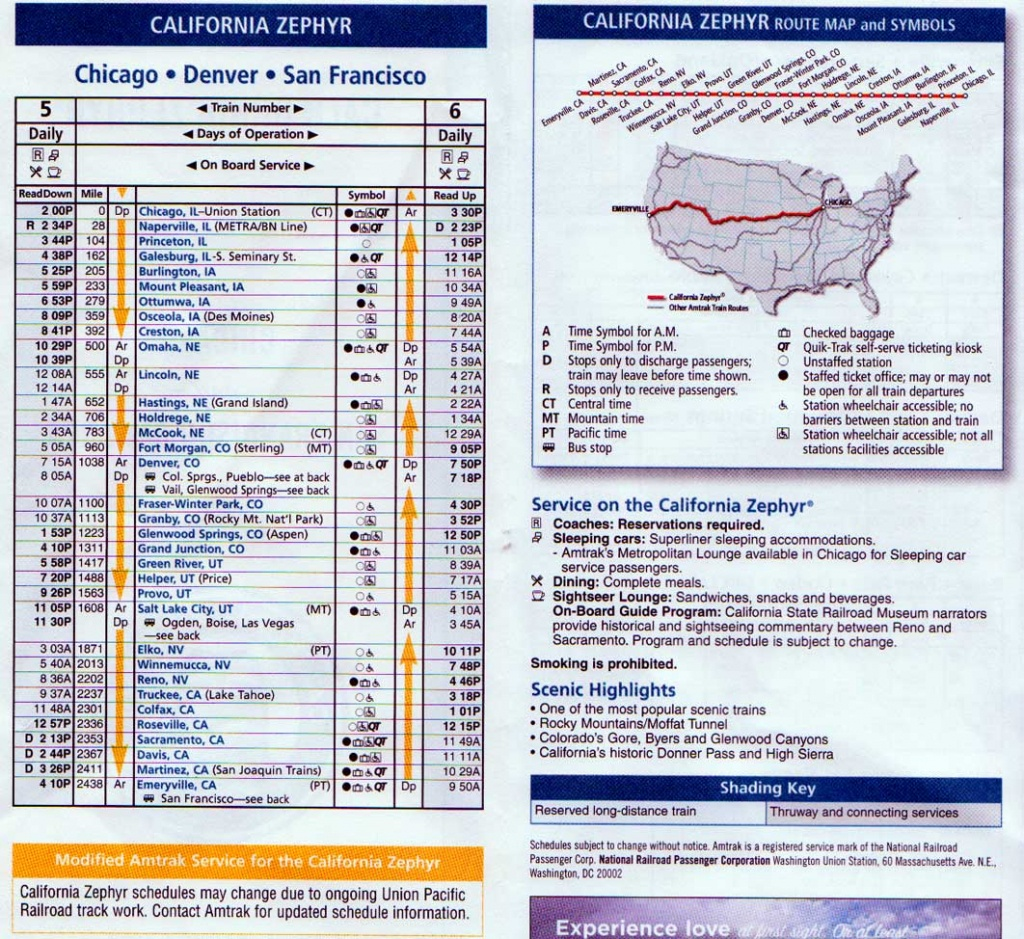 Amtrak Excursion; Round Trip, Truckee - Colfax, California - Amtrak Train Map California