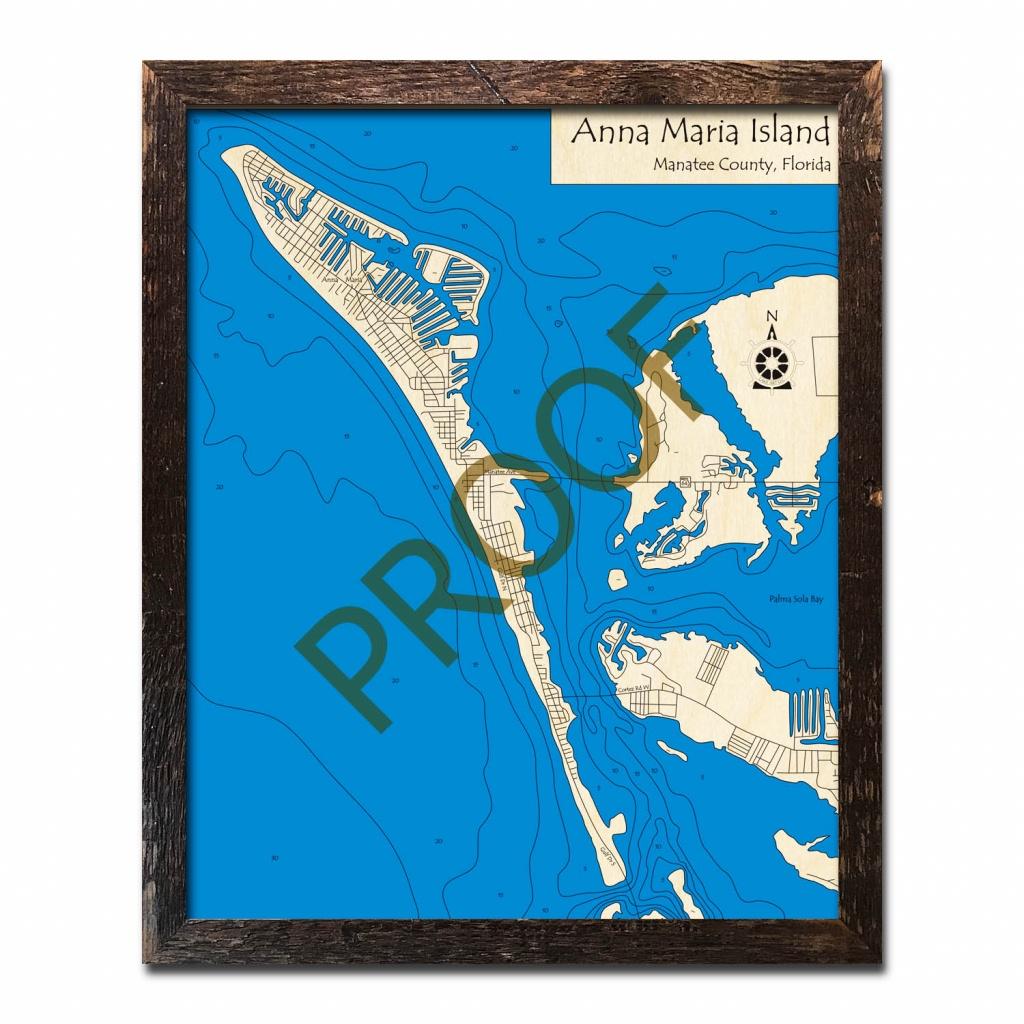 Anna Maria Island, Fl Nautical Wood Maps - Anna Maria Island Florida Map