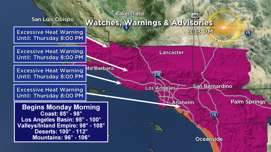 Another Heat Wave Expected In Southern California Monday – Cbs Los - Southern California Heat Map