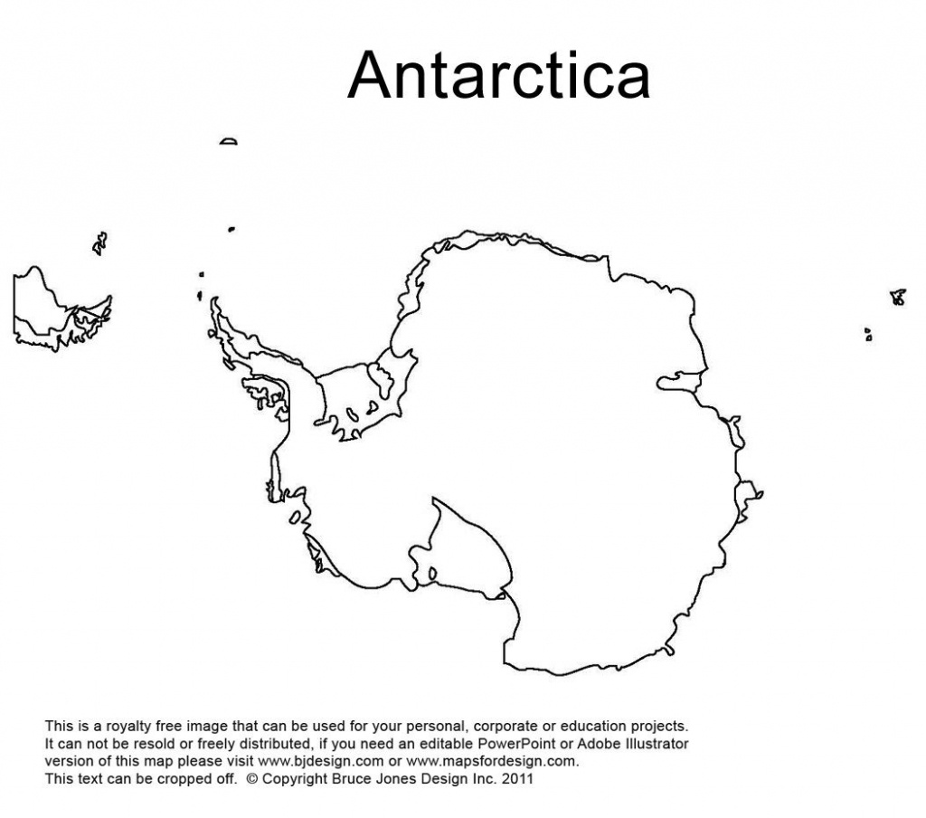Antarctica, South Pole Outline Printable Map, Royalty Free, World - Printable Map Of Antarctica