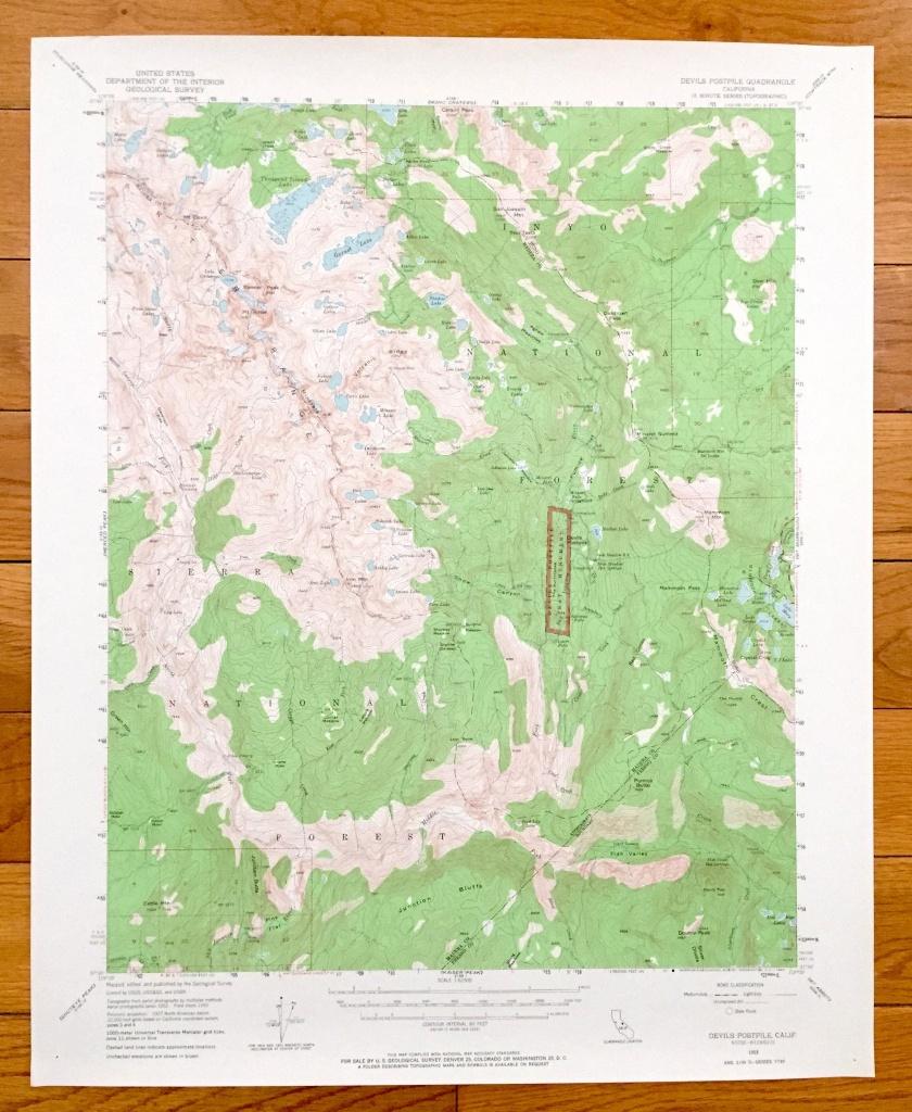 Antique Devils Postpile California 1953 Us Geological Survey | Etsy - Ono California Map
