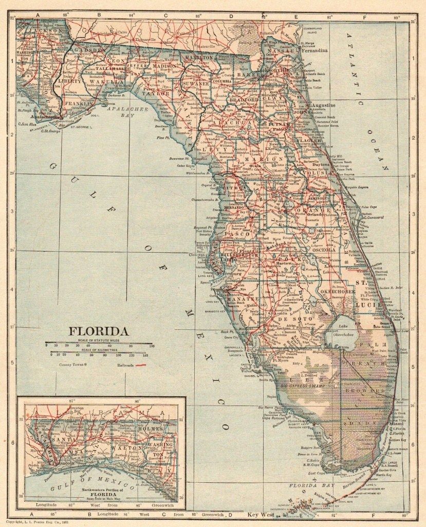 Antique Florida Map 1917 Vintage State Map Of Florida Gallery Wall - Florida Map Wall Art