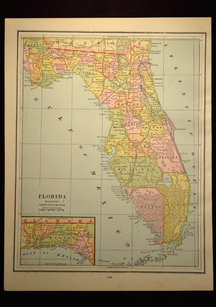 Antique Florida Map Of Florida Wall Decor Art Original Gift Idea - Florida Map Wall Art