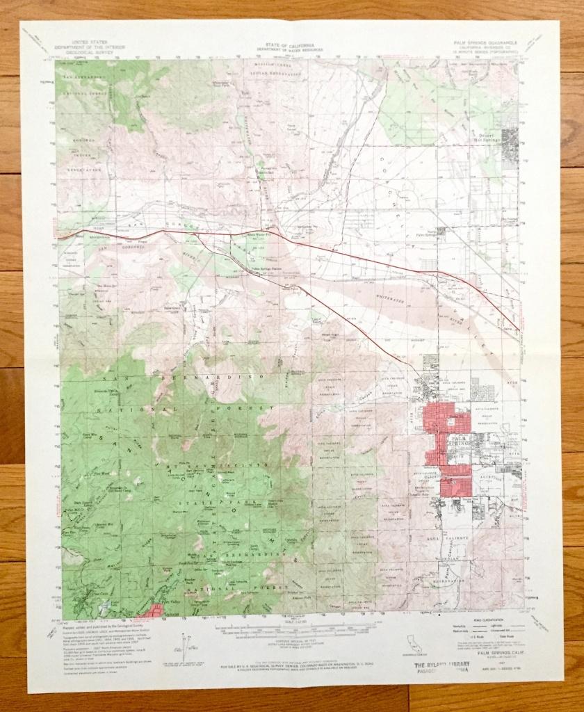 Antique Palm Springs California 1957 Us Geological Survey | Etsy - Map Of Palm Springs California And Surrounding Area