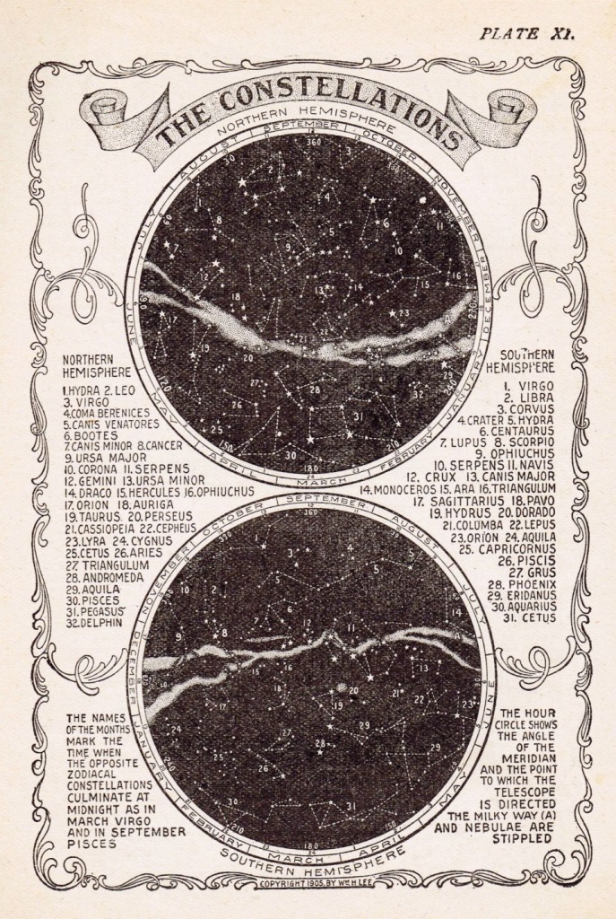 Antique Star Constellations Stock Image | Constellations - Printable Moon Map