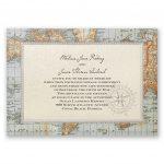 Antique World Map Invitation | Invitationsdawn   Printable Maps For Wedding Invitations Free
