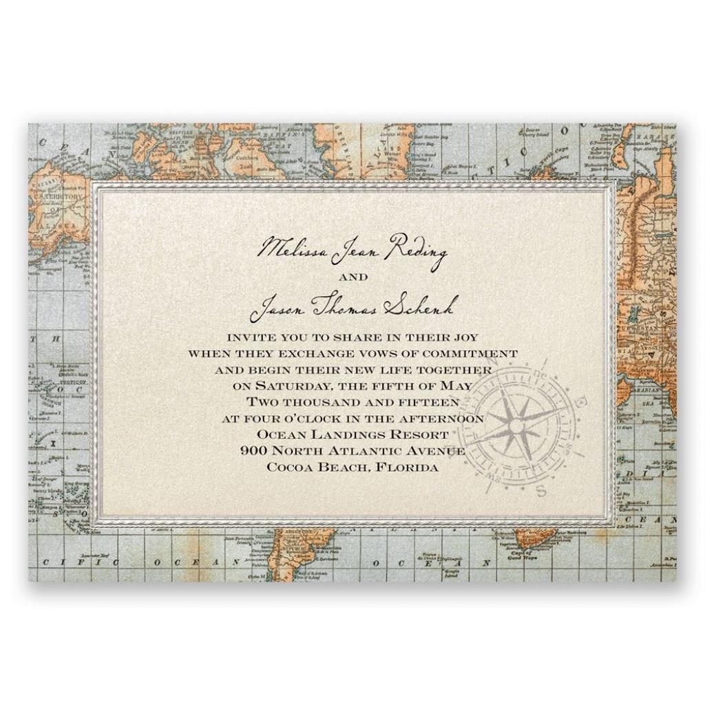Antique World Map Invitation | Invitationsdawn - Printable Maps For Wedding Invitations Free