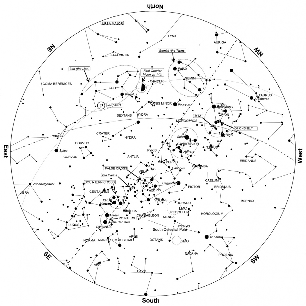 April 2016 Night Sky Guide Transcript And Sky Chart – Observations - Printable Constellation Map