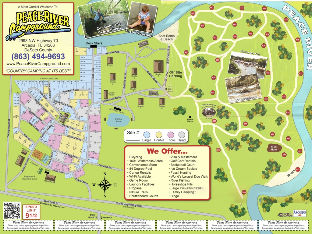 Arcadia Peace River Campground - Florida Tent Camping Map