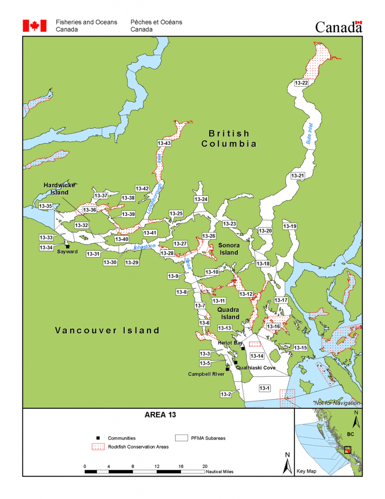 Area 13 (Campbell River And Cortes, Sonora, Quadra Islands) - Bc - California Fishing Regulations Map