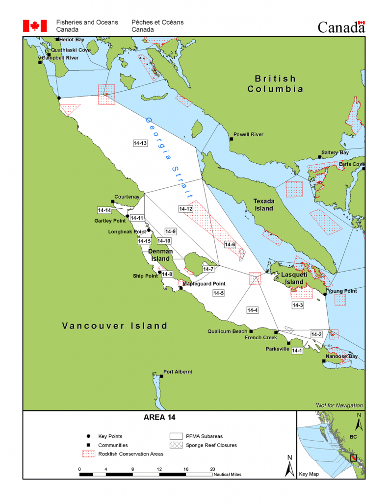 Area 14 (Comox, Parksville, Denman And Hornby Islands) - Bc Tidal - California Fishing Regulations Map