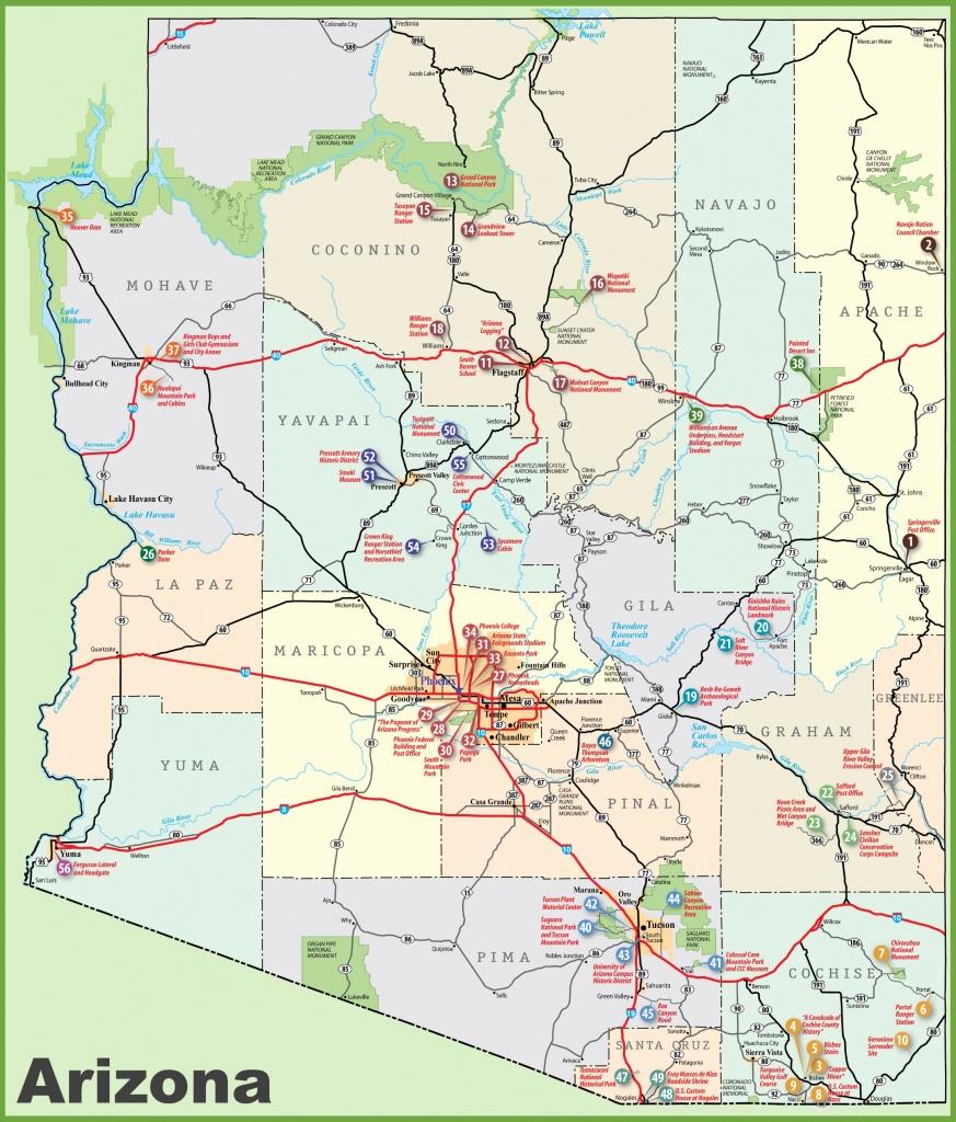 Arizona Sightseeing Map - Printable Map Of Arizona