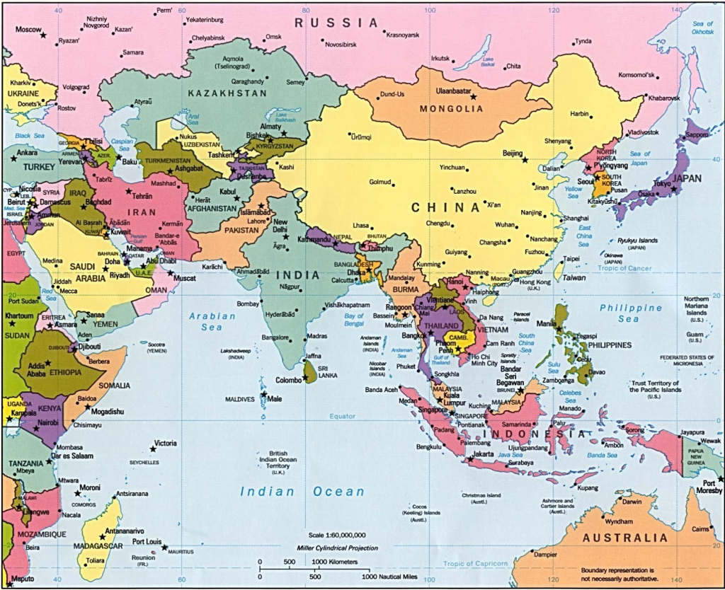 Asia Maps With Countries And Capitals Simple Printable Map Pikku Of - Printable Map Of Asia With Countries And Capitals