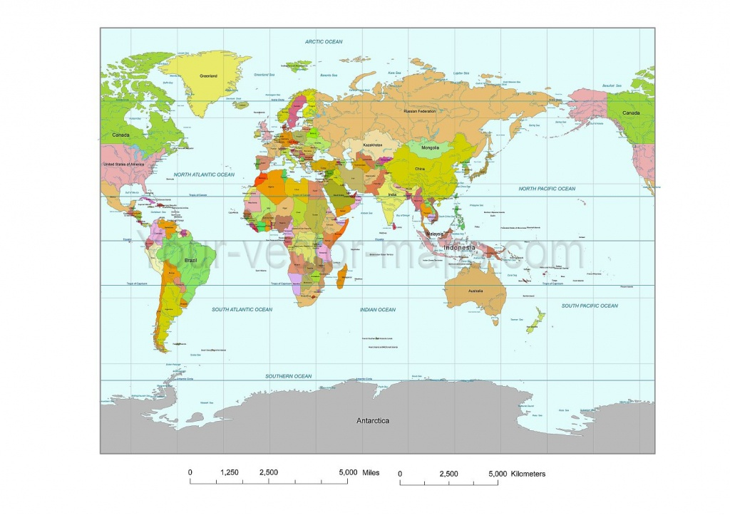 Asiia Centered Wgs84 Colored World Map With County Names. Printable - World Maps Online Printable