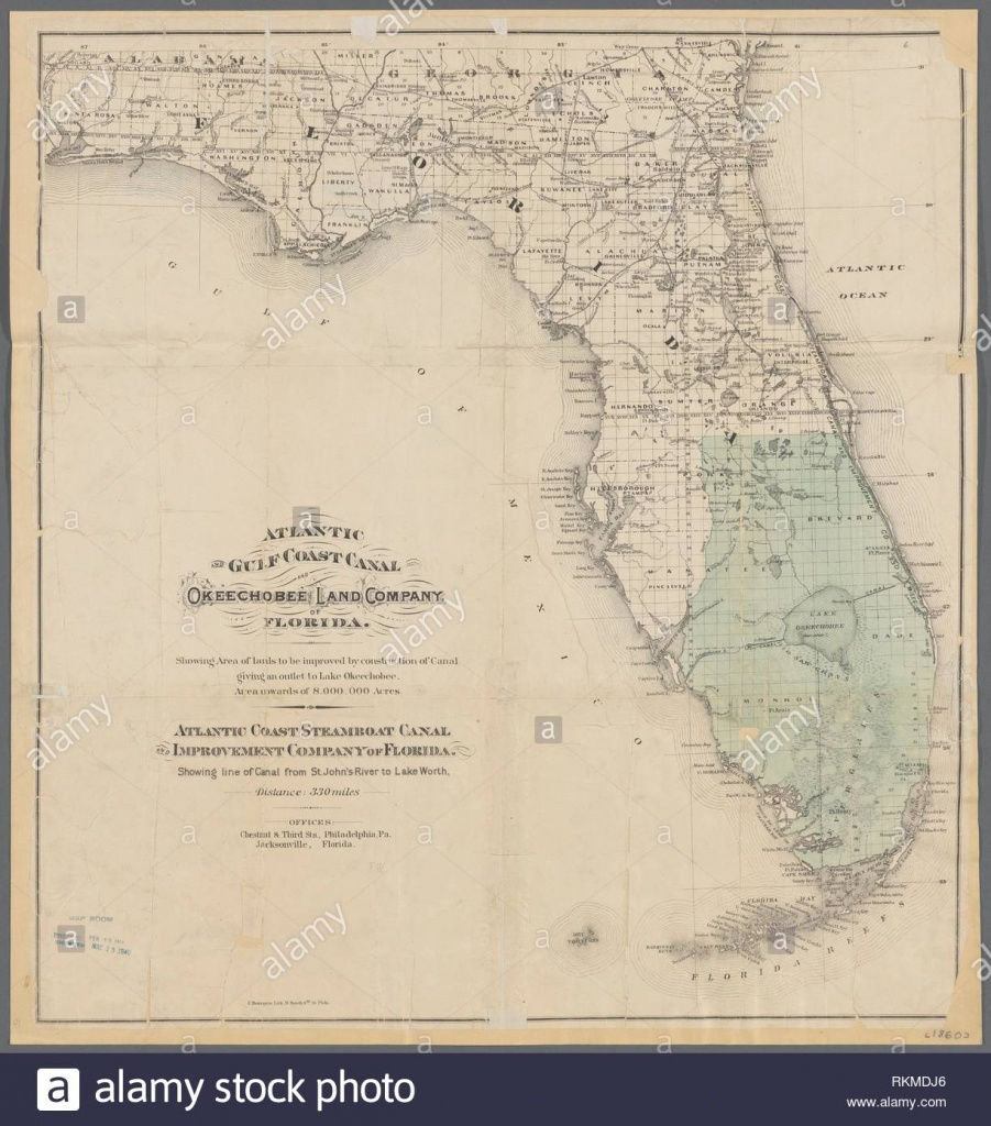 Atlantic And Gulf Coast Canal And Okeechobee Land Company Of Florida - Florida Atlantic Coast Map