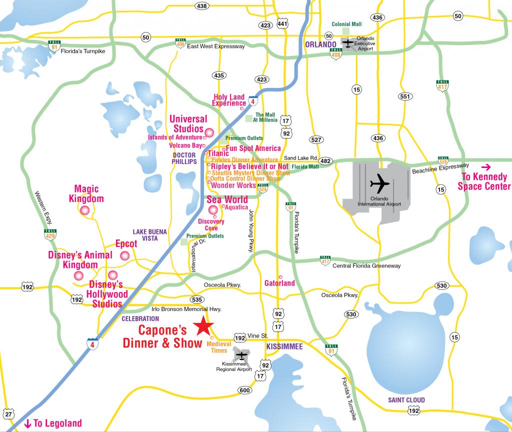 Attractions Map : Orlando Area Theme Park Map : Alcapones - Florida Tourist Map