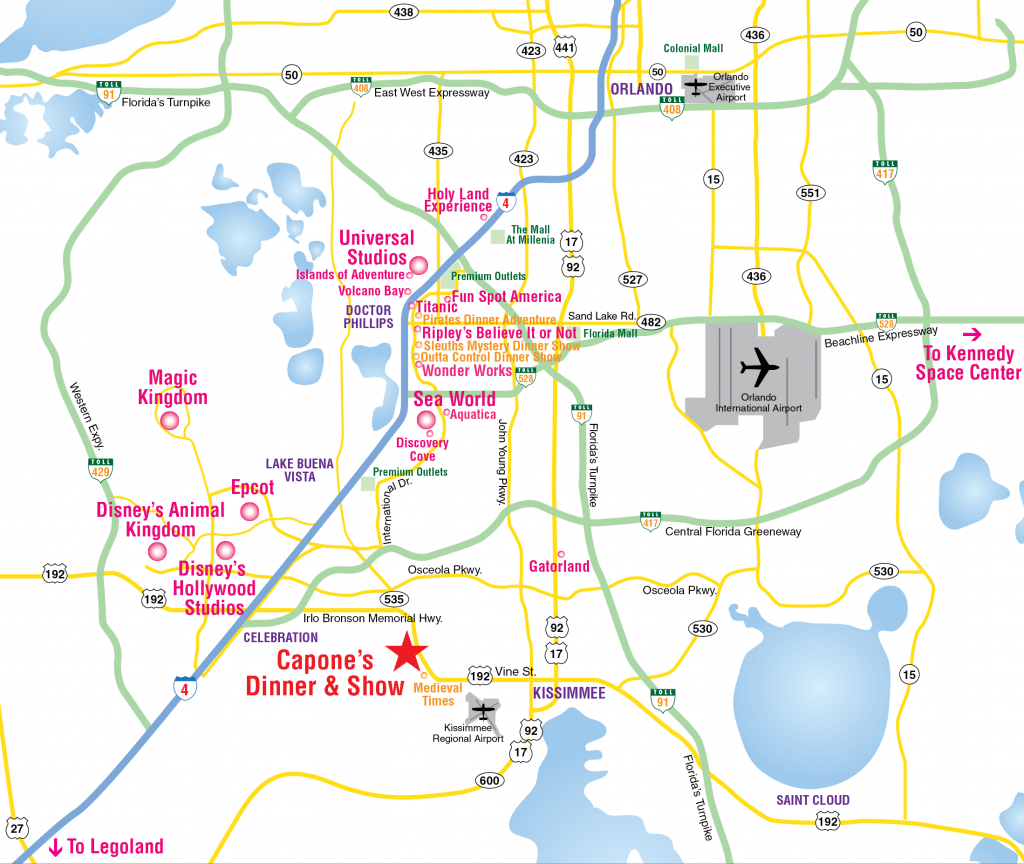 Attractions Map : Orlando Area Theme Park Map : Alcapones - Orlando Florida Theme Parks Map