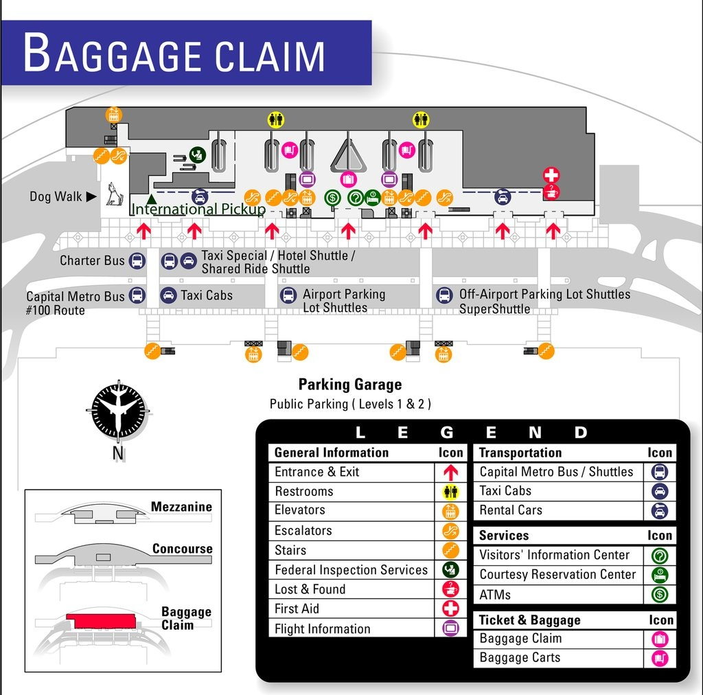 Austin-Bergstrom International Airport (Aus) - Maplets - Austin Texas Airport Terminal Map