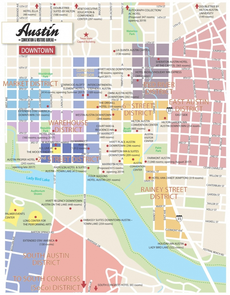 Austin Downtown Hotel Map - Printable Map Of Austin