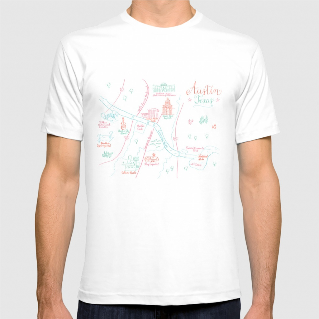 Austin, Texas Illustrated Calligraphy Map T-Shirtmeganlkelso - Texas Not Texas Map T Shirt