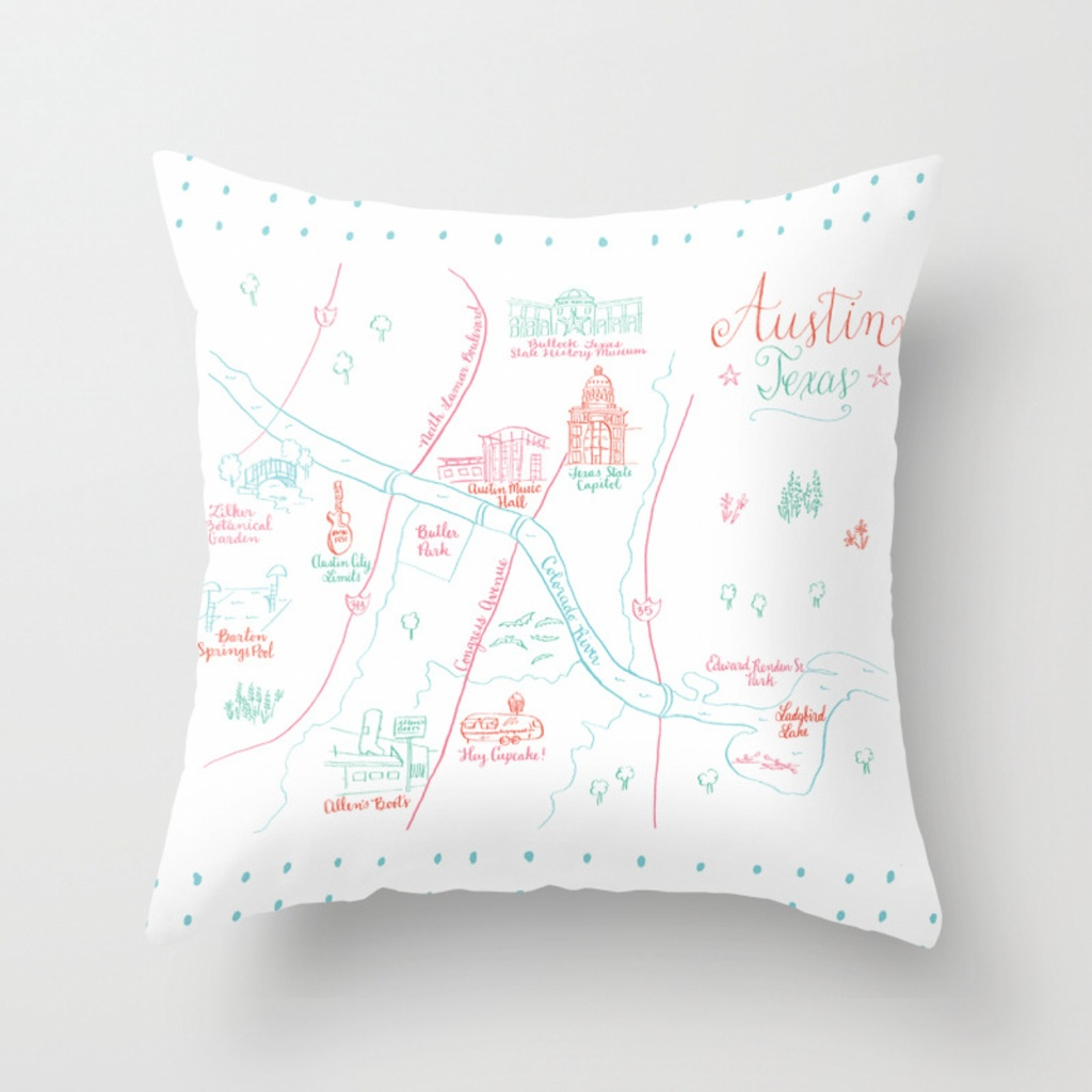 Austin, Texas Illustrated Calligraphy Map Throw Pillow - Texas Map Pillow