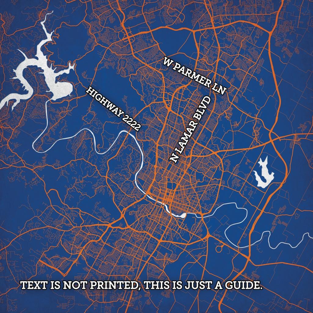 Austin, Texas Map Art - The Map Shop - Texas Map Store Coupon