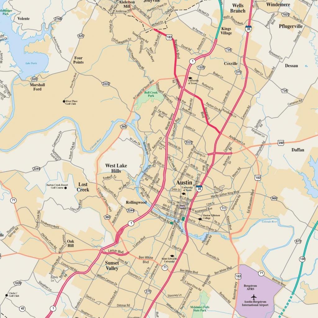 Austin Tx Map - Map Of Austin Tx (Texas - Usa) - Austin Tx Map Of Texas