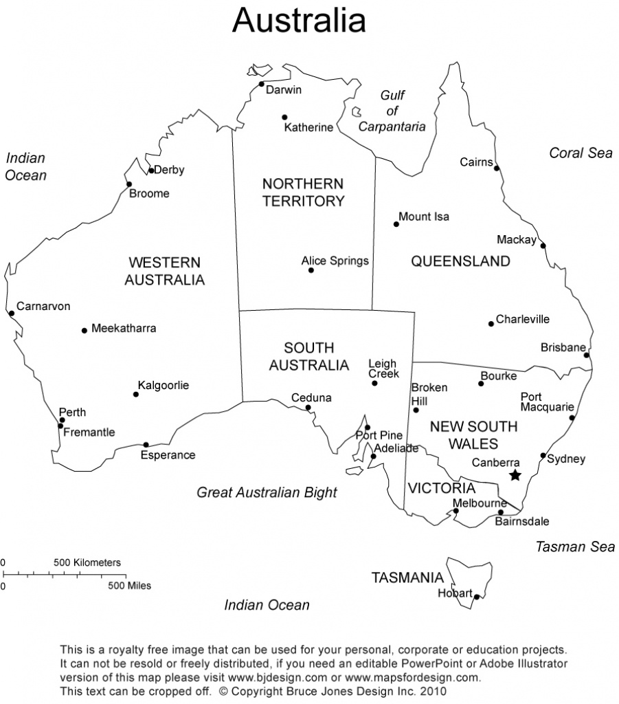 Australia Printable, Blank Maps, Outline Maps • Royalty Free - Printable Map Of Australia