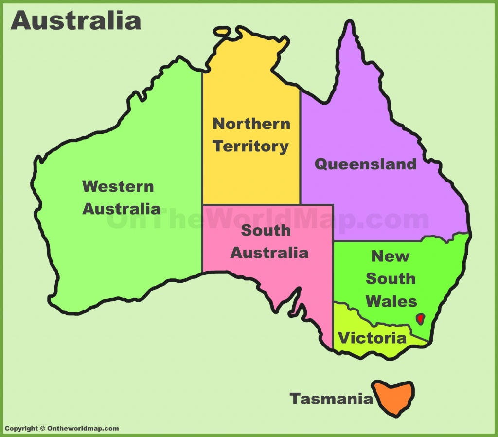 Australia States And Territories Map | List Of Australia States And - Printable Map Of Australia With States