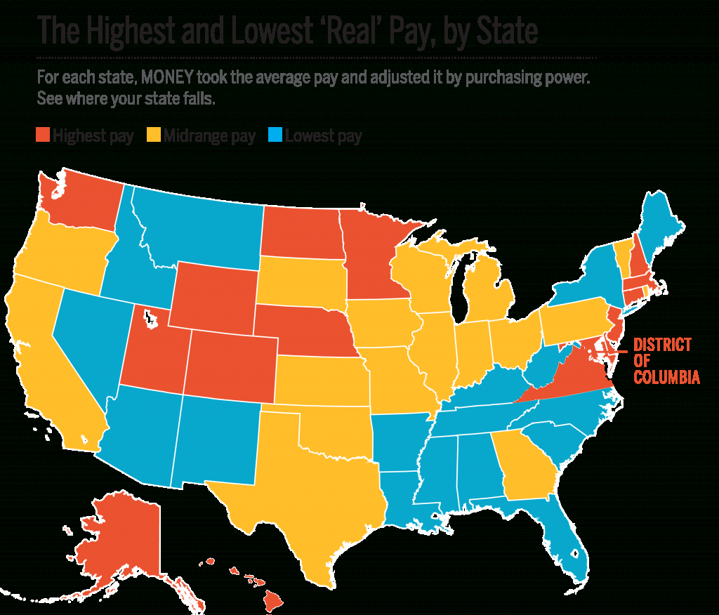 Average Income And Cost Of Living In Every State | Money - California Cost Of Living Map