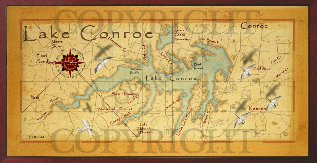 Baitrageous: Map Of Beautiful Lake Conroe In East Texas! - Map Of Lake Conroe Texas