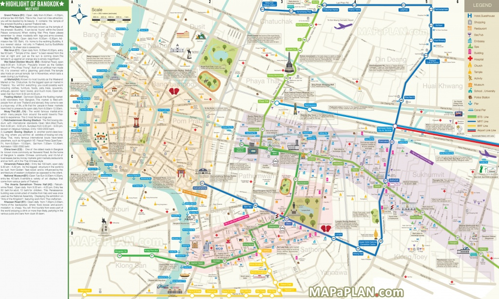 Bangkok Maps - Top Tourist Attractions - Free, Printable City Street Map - Printable Map Of Bangkok