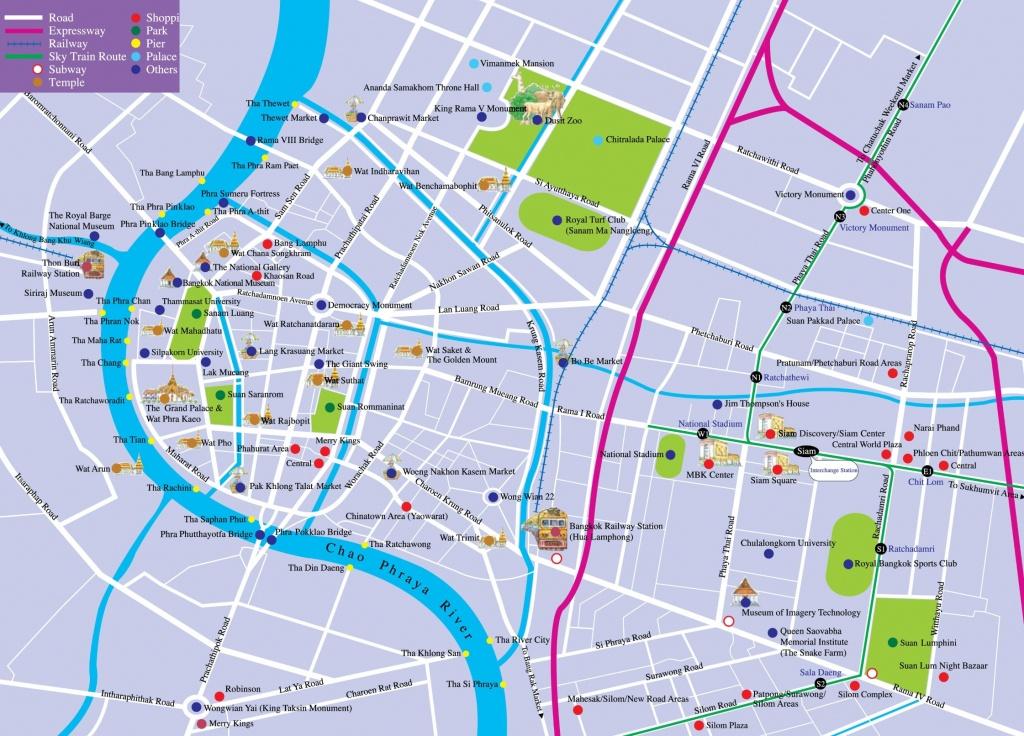 Bangkok Tourist Attractions Map - Printable Map Of Bangkok