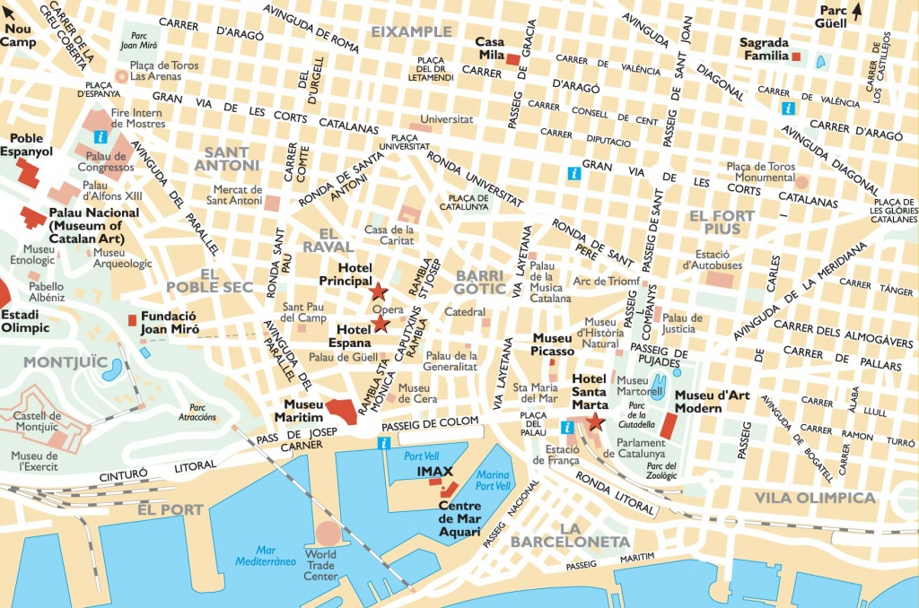 Barcelona Attractions Map Pdf - Free Printable Tourist Map Barcelona - Barcelona Street Map Printable