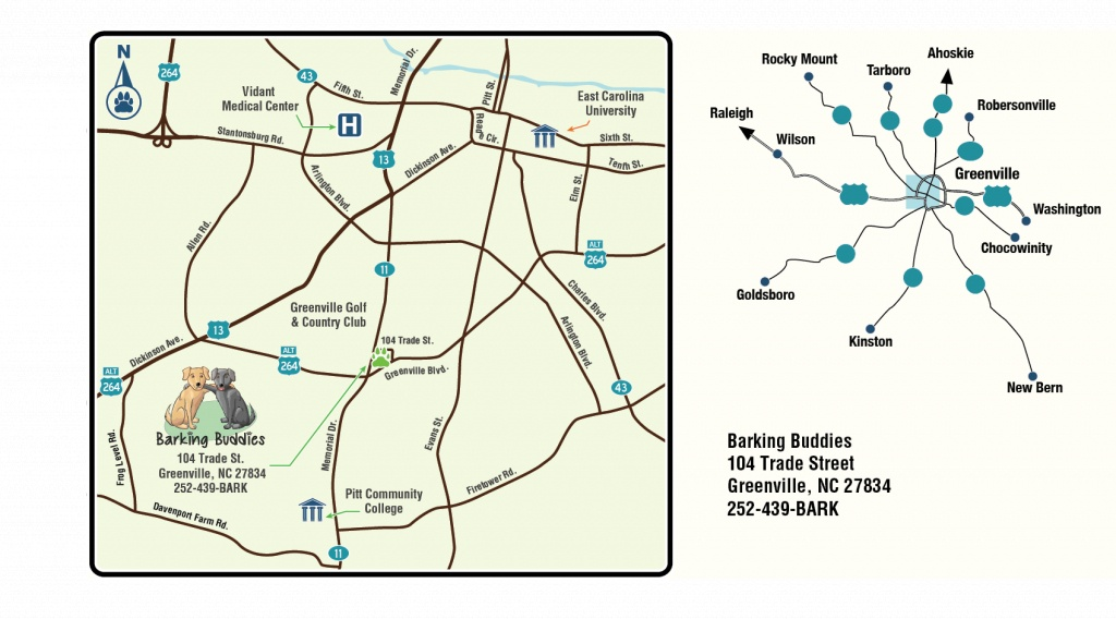 Barking Buddies - Printable Street Map Of Greenville Nc